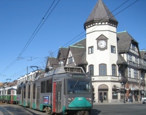 Coolidge Corner with trolley - Photo by John Seay